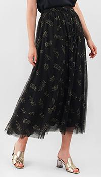 Черная юбка Luisa Cerano с флористическим принтом, фото