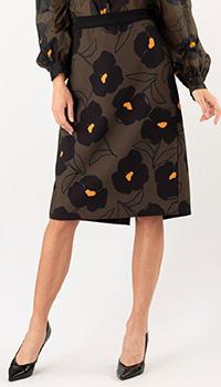 Коричневая юбка Luisa Cerano с цветочным принтом, фото