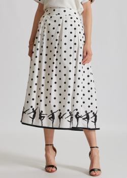 Белая юбка Luisa Cerano в черный горох, фото