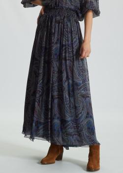Шелковая юбка-миди Luisa Cerano с узором пейсли, фото