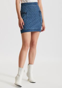 Синяя юбка Miss Sixty с ромбовидным узором, фото