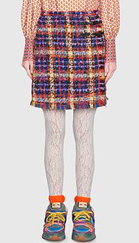 Твидовая мини-юбка Gucci с необработанными краями, фото