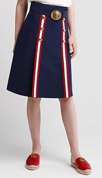 Темно-синяя юбка Gucci с широким поясом, фото
