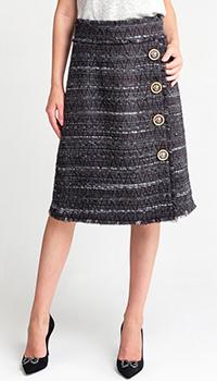 Серая юбка Dolce&Gabbana с декоративными пуговицами, фото
