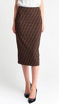 Коричневая юбка Fendi с брендовым принтом, фото