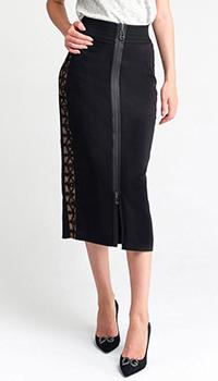 Черная юбка Fendi с лампасами, фото
