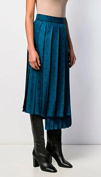 Плиссированная юбка Fendi FF Karligraphy из шелка, фото