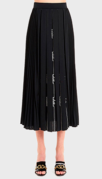 Плиссированная юбка-миди Valentino с белым принтом, фото