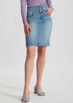 Джинсовая юбка Miss Sixty с логотипом из стаз, фото