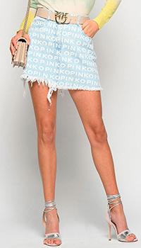 Джинсовая юбка Pinko с принтом в виде логотипа, фото
