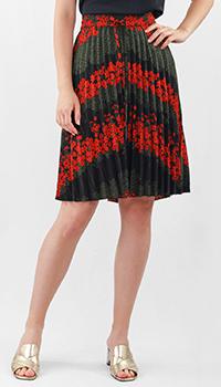 Плиссированная юбка Red Valentino в черном цвете, фото