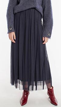 Плиссированная юбка-макси Laurel темно-синего цвета, фото