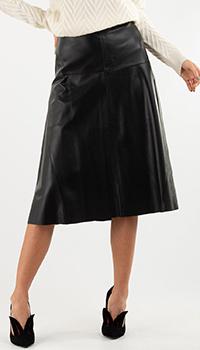 Кожаная черная юбка Repeat Cashmere, фото