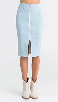 Голубая юбка Patrizia Pepe до колена, фото