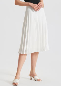 Белая плиссированная юбка В2 с пуговицами на боку, фото