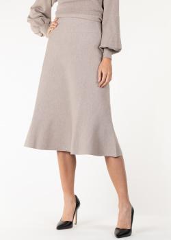 Трикотажная юбка-миди Agnona бежевого цвета, фото