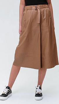 Коричневая кожаная юбка Bogner с карманами на молнии, фото
