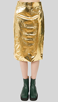 Золотистая юбка-миди N21 прямого кроя, фото