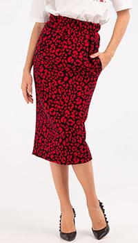 Красная юбка N21 с животным принтом, фото