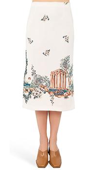 Светло-бежевая юбка-миди Vivetta с рисунком, фото