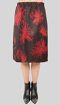 Юбка-миди N21 черного цвета с цветочным принтом, фото