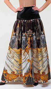 Длинная юбка Cavalli Class с золотым рисунком, фото