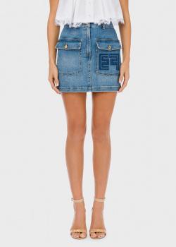 Джинсовая юбка Elisabetta Franchi с фирменной вышивкой, фото