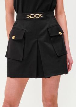 Черная юбка-шорты Elisabetta Franchi с цепочкой на поясе, фото