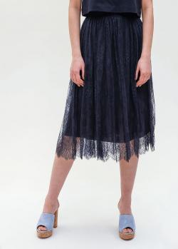 Темно-синяя юбка Ermanno Ermanno Scervino с кружевом, фото