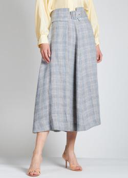 Льняная юбка-миди Fabiana Filippi в голубую клетку, фото