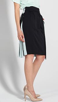 Шелковая юбка-карандаш Fendi двухцветная с лентами по бокам, фото