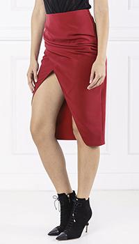 Бордовая юбка Elisabetta Franchi с разрезом, фото