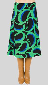 Черная юбка Marni с зеленым рисунком, фото
