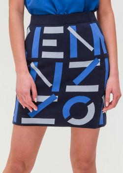 Синяя юбка Kenzo с брендовым принтом, фото