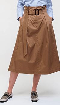 Бежевая юбка-миди Max Mara Weekend с поясом, фото