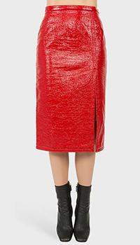 Красная юбка N21 с боковым разрезом, фото