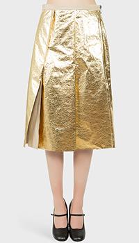 Золотистая юбка N21 в крупную складку, фото