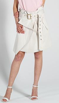 Ассиметричная юбка Salvatore Ferragamo с запахом и широким поясом, фото