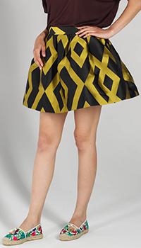 Короткая пышная юбка P.A.R.O.S.H. с желтыми ромбами, фото