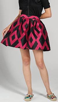 Короткая пышная юбка P.A.R.O.S.H. с розовыми ромбами, фото