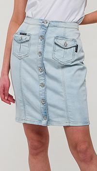 Джинсовая юбка Philipp Plein на пуговицах, фото