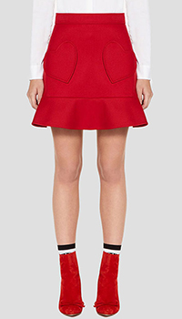 Красная юбка Red Valentino с накладными карманами-сердцами, фото