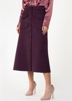 Шерстяная юбка-миди Rochas фиолетового цвета, фото