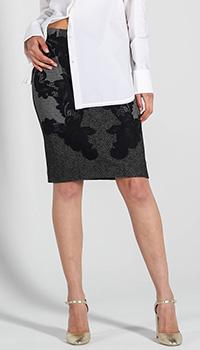 Серая юбка-карандаш DVF с черным кружевом, фото