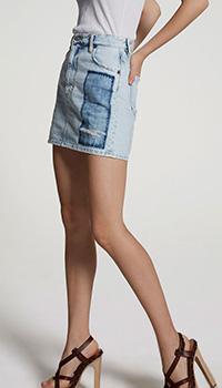 Джинсовая юбка Dsquared2 с потертостями, фото
