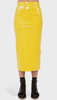 Юбка-карандаш N21 желтого цвета с завышенной талией, фото