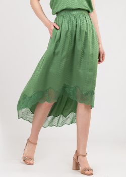 Шелковая юбка Zadig & Voltaire с брендовым тиснением, фото