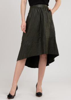 Кожаная юбка Zadig & Voltaire цвета хаки, фото
