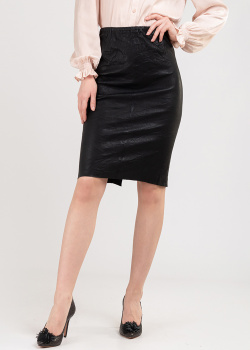 Кожаная юбка-карандаш Zadig & Voltaire с эффектом помятости, фото