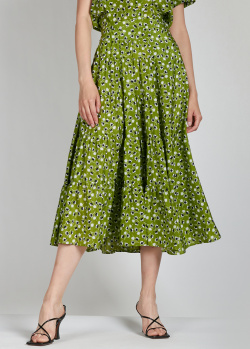 Шелковая юбка-миди Rochas зеленого цвета, фото